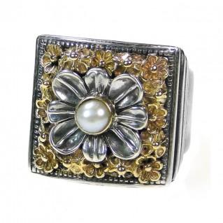 Gerochristo 2207 ~ Solid Gold & Sterling Silver Medieval Byzantine Ring