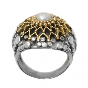 Gerochristo 2219 ~ Solid Gold & Sterling Silver Medieval-Byzantine Cocktail Ring