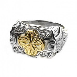 Gerochristo 2221 ~ Solid Gold & Silver - Medieval-Byzantine Cross Ring
