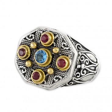 Gerochristo 2222 ~ Solid Gold, Silver & Stones - Medieval Byzantine Multicolor Ring