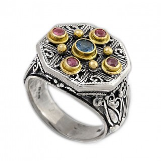 Gerochristo 2222 ~ Solid Gold, Silver & Stones - Medieval Byzantine Multicolor Ring