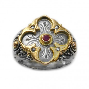 Gerochristo 2227 ~ Solid Gold, Silver & Ruby - Medieval Byzantine Cross Ring
