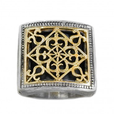 Gerochristo 2233 ~ Solid Gold & Sterling Silver Medieval Byzantine Ring