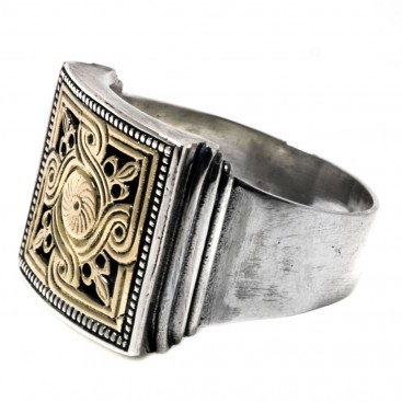 Gerochristo 2236 ~ Solid 18K Gold & Sterling Silver Medieval-Byzantine Ring