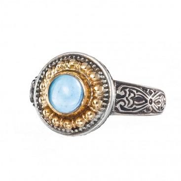 Gerochristo 2243 ~ Solid Gold & Sterling Silver Medieval-Byzantine Ring