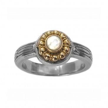 Gerochristo 2255 ~ Solid Gold & Sterling Silver Medieval-Byzantine Ring