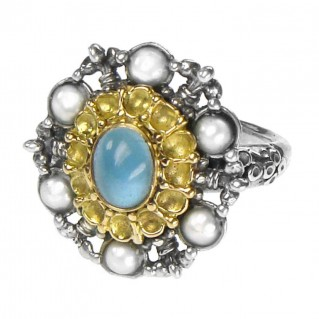 Gerochristo 2257 ~ Solid Gold, Sterling Silver & Pearls Medieval-Byzantine Ring