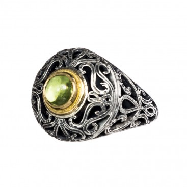 Gerochristo 2261N ~ Solid Gold, Silver & Stone Medieval-Byzantine Cocktail Ring