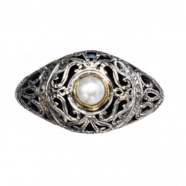 Gerochristo 2262N ~ Solid Gold, Silver & Stone Medieval-Byzantine Cocktail Ring