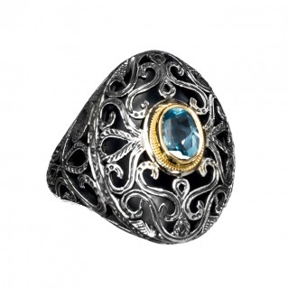 Gerochristo 2263N ~ Solid Gold, Silver & Stone Medieval-Byzantine Cocktail Cocktail Ring