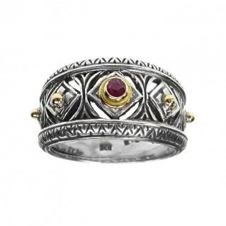 Gerochristo 2275 ~ Solid Gold & Sterling Silver Medieval-Byzantine Band Ring