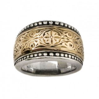 Gerochristo 2277 ~ Solid Gold & Sterling Silver Medieval-Byzantine Ring