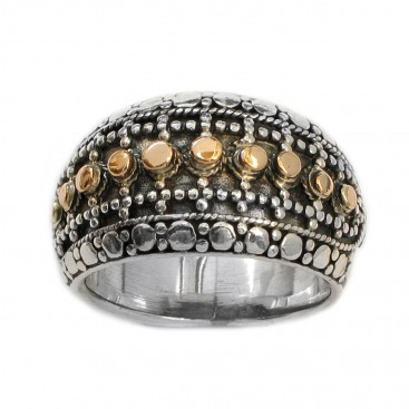 Gerochristo 2278 ~ Solid Gold & Silver - Medieval-Byzantine Granulated Ring