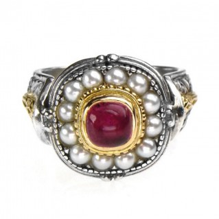 Gerochristo 2327 ~ Solid Gold, Silver & Pearls Ornate Medieval-Byzantine Ring