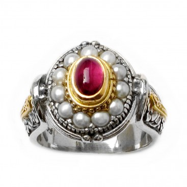 Gerochristo 2328 ~ Solid Gold, Silver & Pearls Ornate Medieval-Byzantine Ring