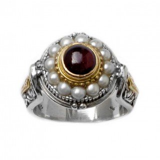 Gerochristo 2329 ~ Solid Gold, Silver & Pearls Ornate Medieval-Byzantine Ring