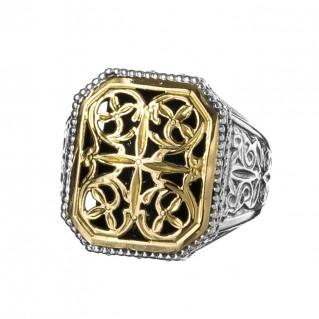 Gerochristo 2330N ~ Solid Gold & Silver Medieval Byzantine Chevalier Ring