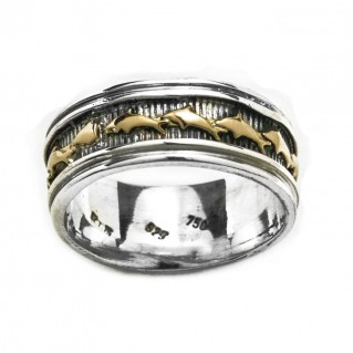 Gerochristo 2379 ~ Solid Gold & Silver - Byzantine Band Ring with Dolphins