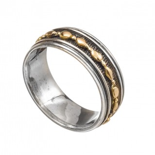 Gerochristo 2380 ~ Solid Gold & Silver - Medieval-Byzantine Band Ring