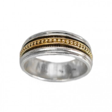 Gerochristo 2381 ~ Solid Gold & Silver - Medieval-Byzantine Band Ring