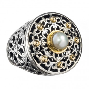 Gerochristo 2388 ~ Solid Gold, Sterling Silver Medieval - Byzantine Ring