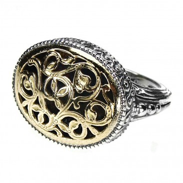 Gerochristo 2397~ Solid Gold & Silver Medieval Byzantine Ring