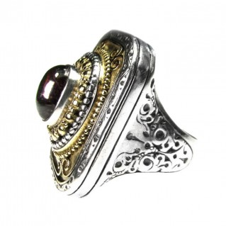 Gerochristo 2409 ~ Solid 18K Gold & Sterling Silver Medieval-Byzantine Large Cocktail Ring
