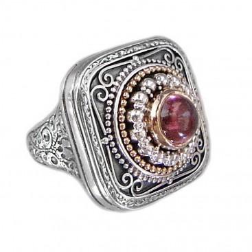 Gerochristo 2422 ~ Solid 18K Gold, Sterling Silver & Stone - Medieval Byzantine Ring