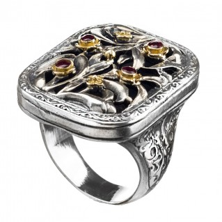 Gerochristo 2424 ~ Solid Gold, Silver & Rubies Medieval-Byzantine Ring