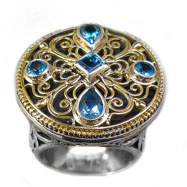 Gerochristo 2436 ~ Solid Gold, Silver & Topaz - Medieval-Byzantine Ring