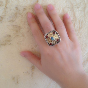Gerochristo 2440 ~ Solid Gold, Silver, Topaz & Rubies - Medieval-Byzantine Ring