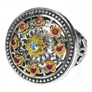 Gerochristo 2445 ~ Solid Gold, Silver & Stones Multicolor Medieval-Byzantine Ring