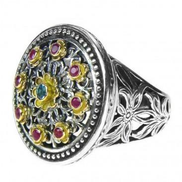 Gerochristo 2445 ~ Solid Gold, Silver & Stones Multicolor Medieval-Byzantine Ring