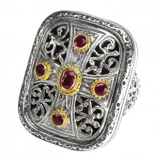 Gerochristo 2457 ~ Solid Gold, Silver & Rubies - Medieval Byzantine Cross Ring