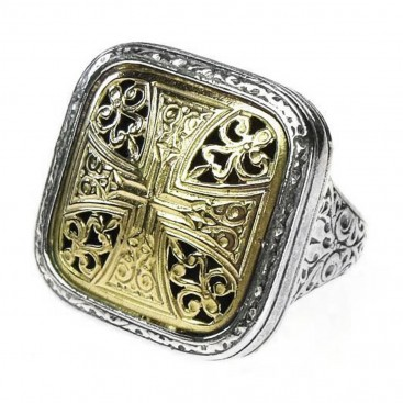 Gerochristo 2462 ~ Solid Gold & Sterling Silver - Medieval-Byzantine Cross Ring
