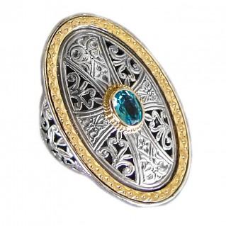 Gerochristo 2466 ~ Solid Gold, Silver & Topaz - Medieval Byzantine Cross Ring