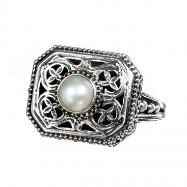Gerochristo 2467N ~ Sterling Silver & Pearl Medieval-Byzantine Single Stone Ring
