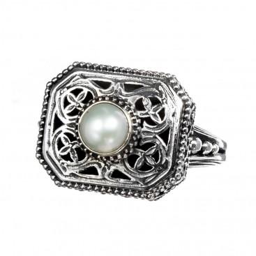 Gerochristo 2467N ~ Sterling Silver & Pearl Medieval-Byzantine Single Stone Ring