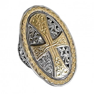 Gerochristo 2472 ~ Solid Gold and Sterling Silver Medieval Byzantine Cross Ring