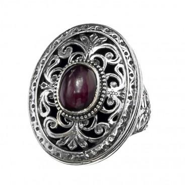Gerochristo 2473N ~ Sterling Silver & Garnet Medieval-Byzantine Cocktail Ring