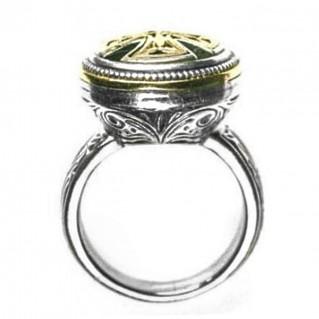 Gerochristo 2478 ~ Solid Gold & Silver Medieval Byzantine Cross Ring