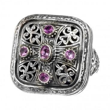 Gerochristo 2483N ~ Sterling Silver & Zircon - Medieval Byzantine Cross Ring