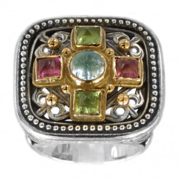Gerochristo 2484 ~ Solid Gold, Silver & Stones Multicolor Medieval-Byzantine Ring