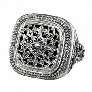 Gerochristo 2496N ~ Sterling Silver Medieval Large Filigree Ring