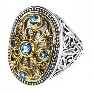 Gerochristo 2516 ~ Solid Gold, Silver & Stones - Medieval Byzantine Ring