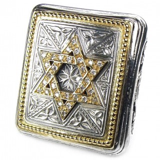 Gerochristo 2524 ~ Gold, Silver & Diamonds - Star of David - Large Ring
