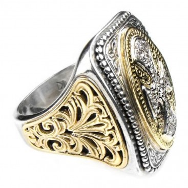 Gerochristo 2526 ~ Gold, Silver & Diamonds - Large Cross Ring
