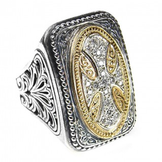 Gerochristo 2527 ~ Gold, Silver & Diamonds - Large Cross Ring