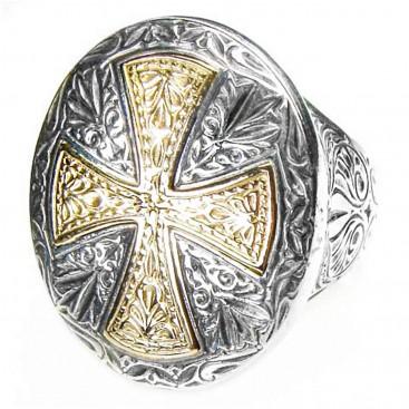 Gerochristo 2529 ~ Solid 18K Gold & Silver Medieval Byzantine Cross Ring