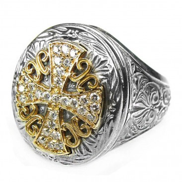 Gerochristo 2530 ~ Gold, Silver & Diamonds - Large Cross Ring